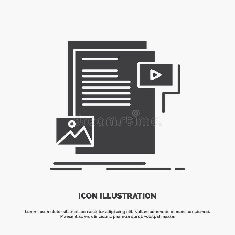 gegevens, document, dossier, media, websitepictogram glyph vector grijs symbool voor UI en UX, website of mobiele toepassing royalty-vrije illustratie