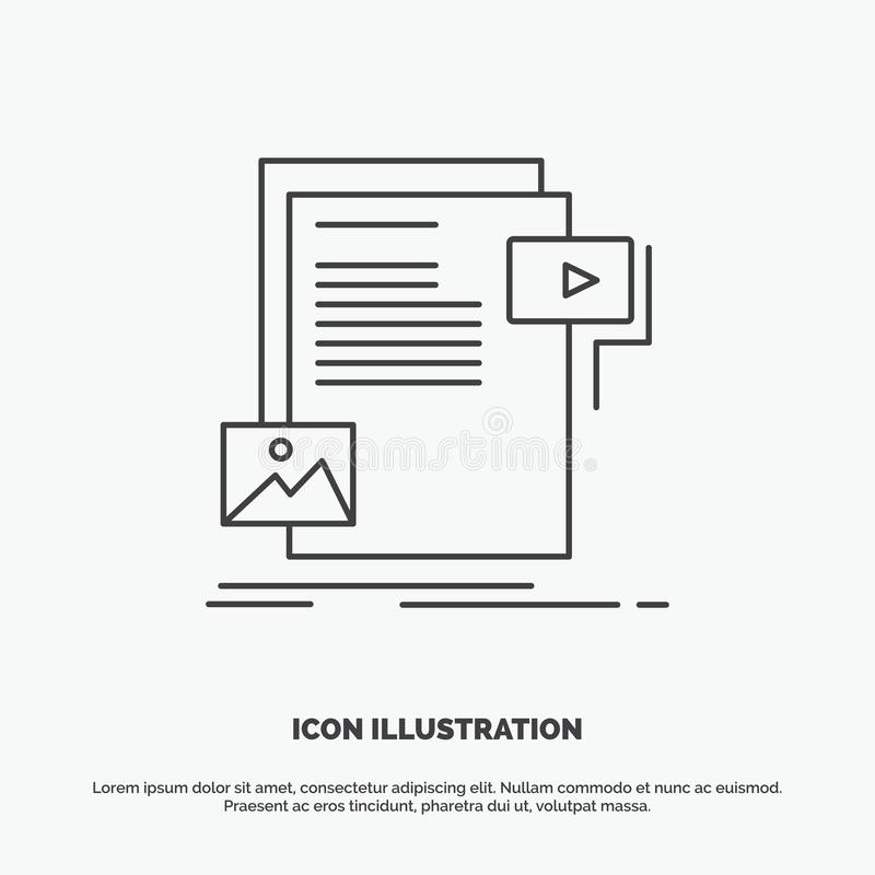 gegevens, document, dossier, media, websitepictogram Lijn vector grijs symbool voor UI en UX, website of mobiele toepassing stock illustratie