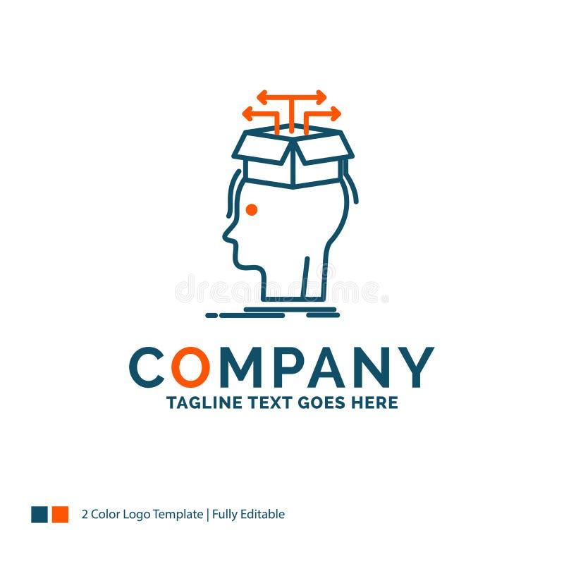 Gegevens, extractie die, hoofd, kennis, Logo Design delen Blauw en stock illustratie