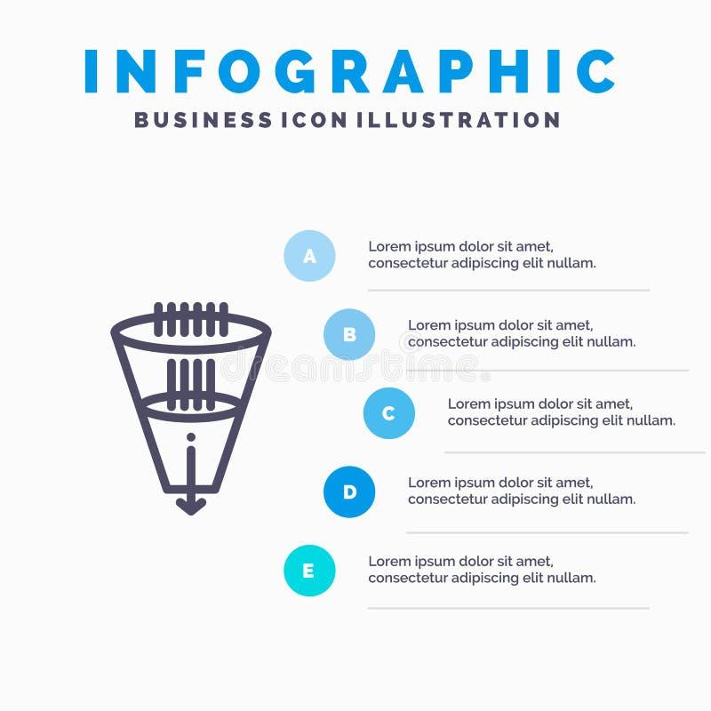 Gegevens, Filter, het Filtreren, Filtratie, het pictogram van de Trechterlijn met infographicsachtergrond van de 5 stappenpresent vector illustratie