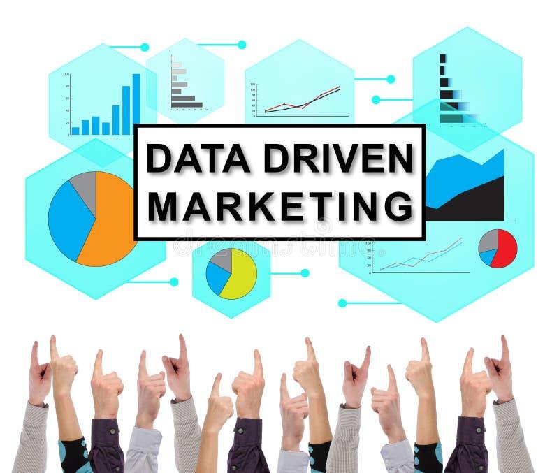 Gegevens gedreven die marketing concept door verscheidene vingers wordt gericht royalty-vrije stock afbeelding