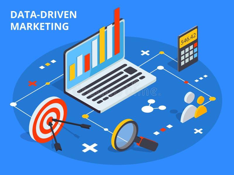 Gegevens gedreven marketing concept in isometrisch ontwerp De zaken groeien royalty-vrije illustratie