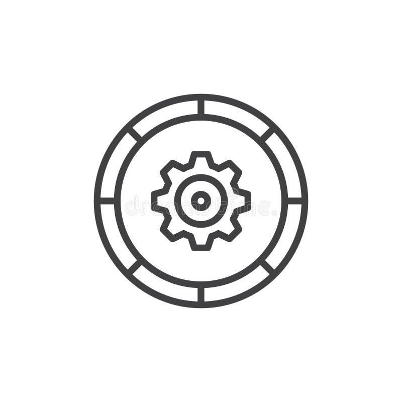 Gegevens - het pictogram van het verwerkingsoverzicht vector illustratie