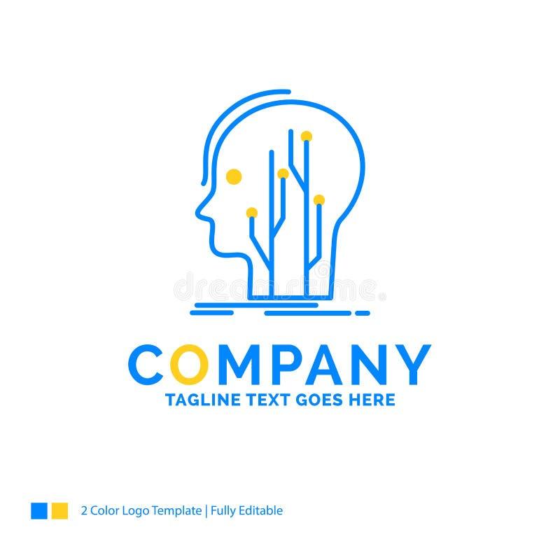 Gegevens, hoofd, mens, kennis, netwerk Blauw Geel Bedrijfsembleem stock illustratie