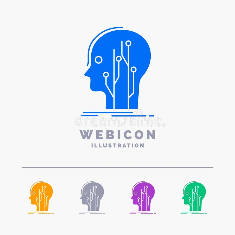 Gegevens, hoofd, mens, kennis, netwerk 5 het Malplaatje van het het Webpictogram van Kleurenglyph op wit wordt geïsoleerd dat Vec stock illustratie