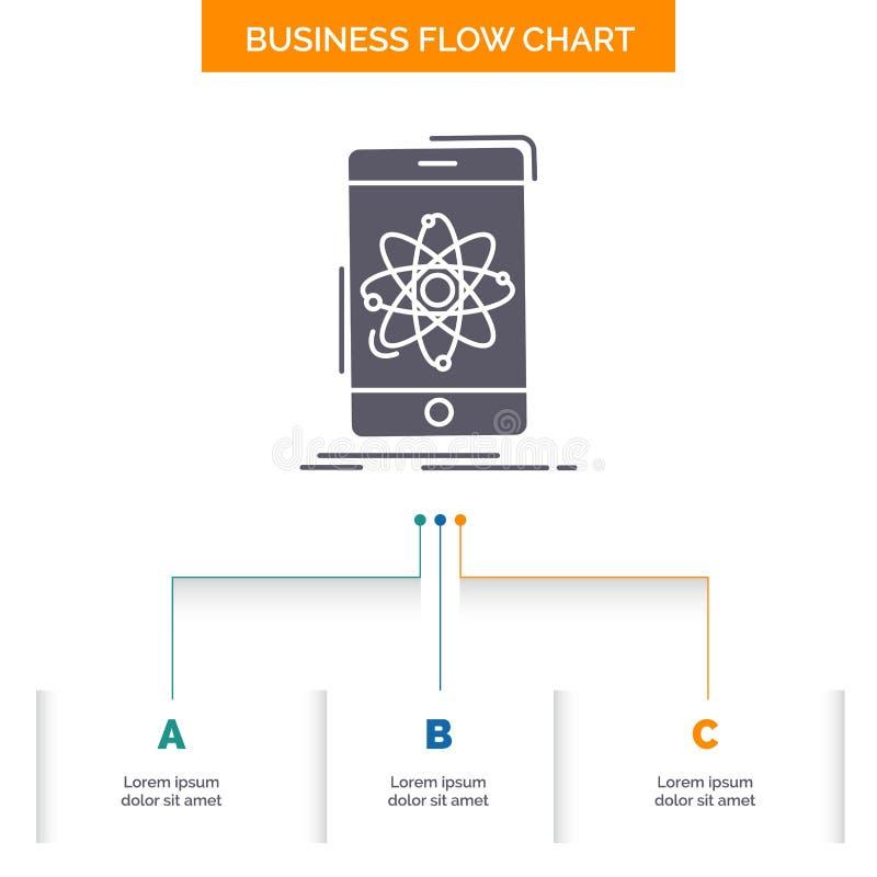 gegevens, informatie, mobiel, onderzoek, het Ontwerp wetenschaps van de Bedrijfsstroomgrafiek met 3 Stappen Glyphpictogram voor P vector illustratie