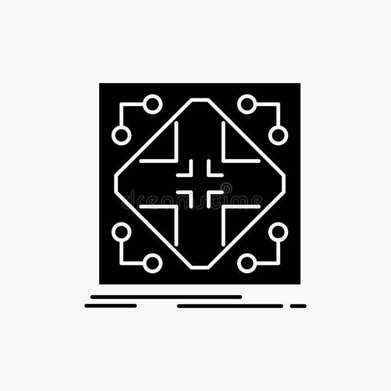 Gegevens, infrastructuur, netwerk, matrijs, het Pictogram van netglyph Vector ge?soleerde illustratie stock illustratie