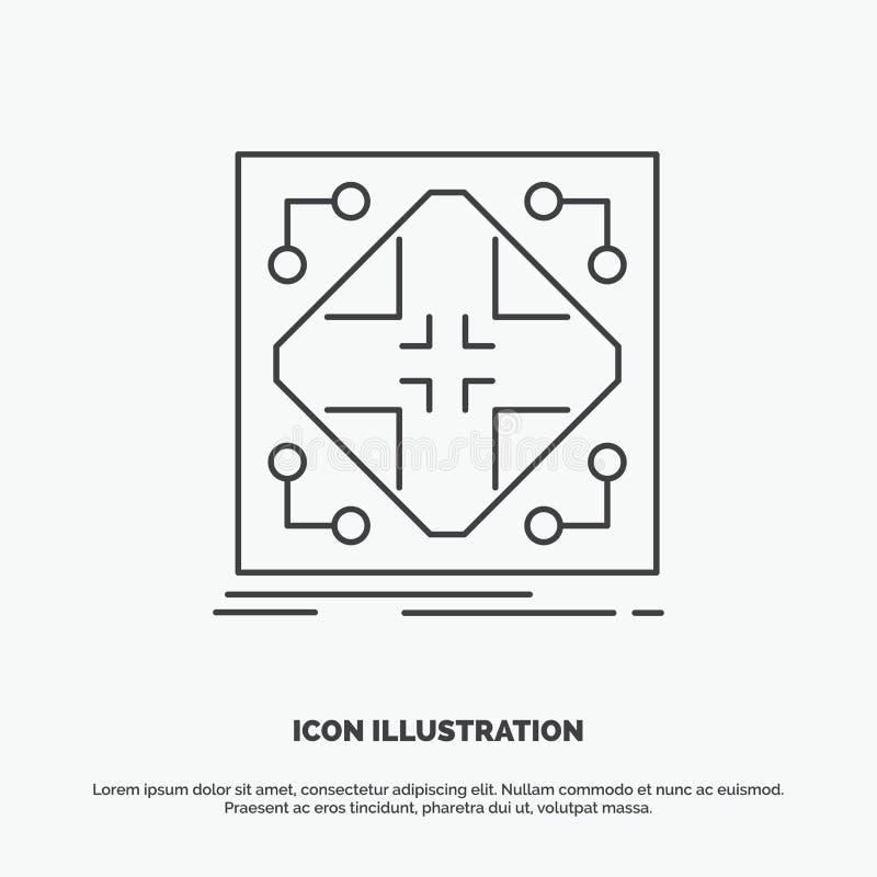 Gegevens, infrastructuur, netwerk, matrijs, netpictogram Lijn vector grijs symbool voor UI en UX, website of mobiele toepassing stock illustratie