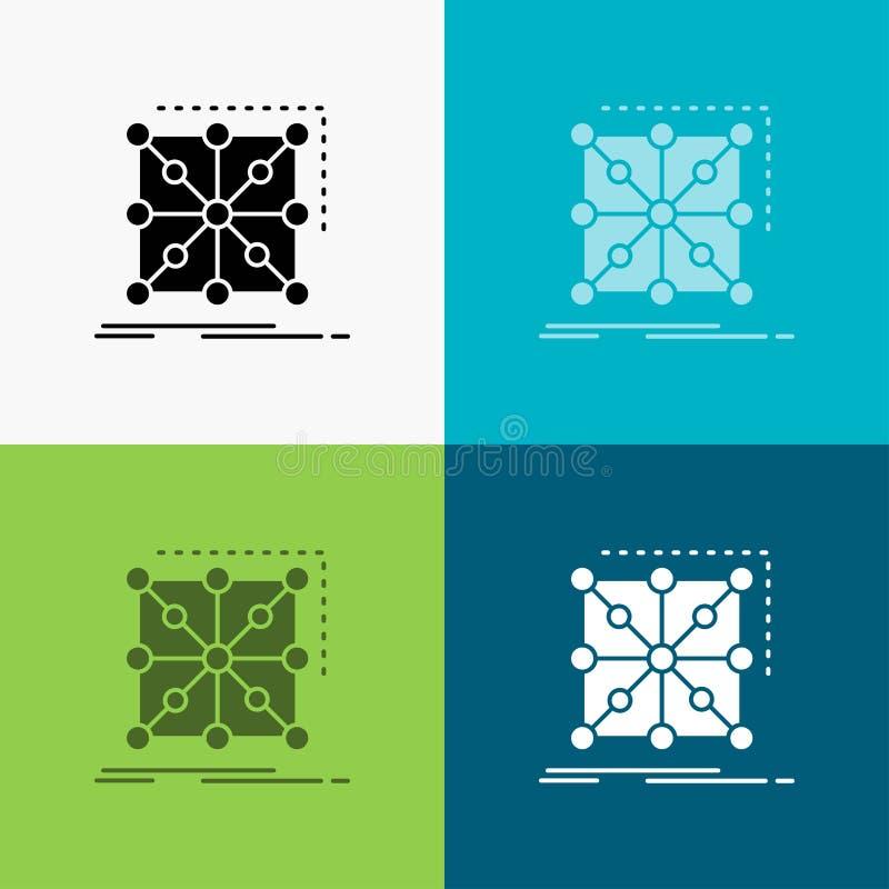 Gegevens, kader, App, cluster, complex Pictogram over Diverse Achtergrond glyph stijlontwerp, voor Web dat en app wordt ontworpen vector illustratie