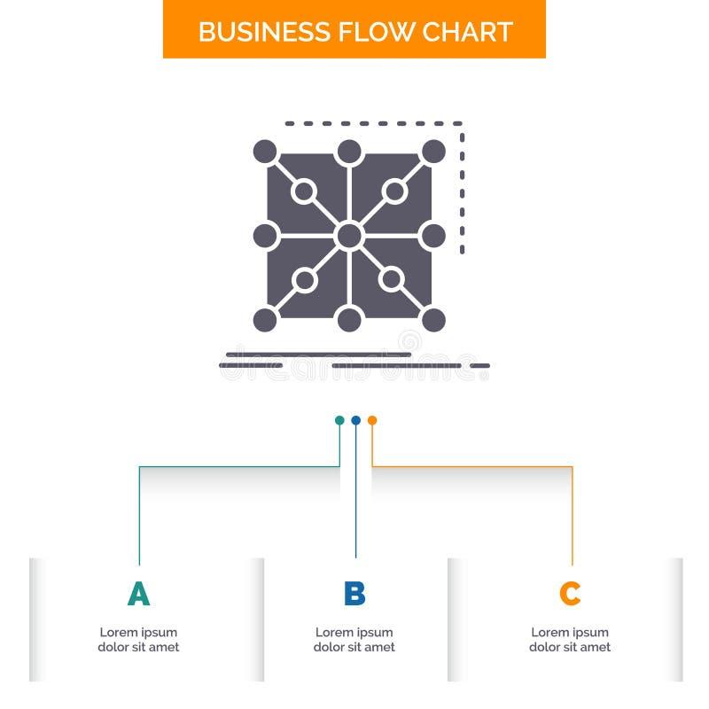Gegevens, kader, App, cluster, het complexe Ontwerp van de Bedrijfsstroomgrafiek met 3 Stappen Glyphpictogram voor Presentatie Ac vector illustratie