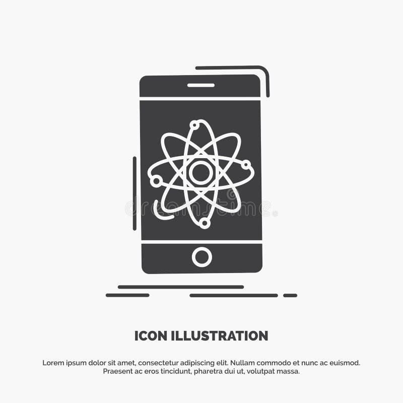 gegevens, mobiele informatie, onderzoek, wetenschapspictogram glyph vector grijs symbool voor UI en UX, website of mobiele toepas royalty-vrije illustratie