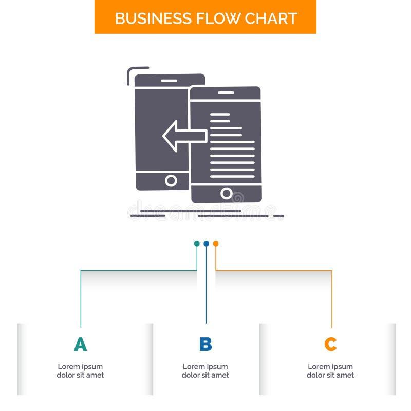 gegevens, overdracht, mobiel, beheer, het Ontwerp Bewegings van de Bedrijfsstroomgrafiek met 3 Stappen Glyphpictogram voor Presen royalty-vrije illustratie