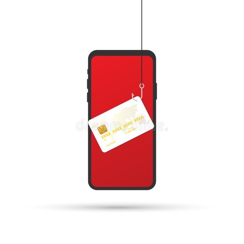 Gegevens Phishing, krediet of debetkaart bij de visserij van haak, Internet-veiligheid Vector illustratie royalty-vrije illustratie