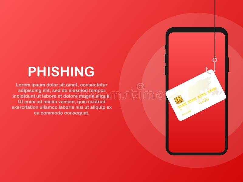 Gegevens Phishing, krediet of debetkaart bij de visserij van haak, Internet-veiligheid Vector illustratie vector illustratie