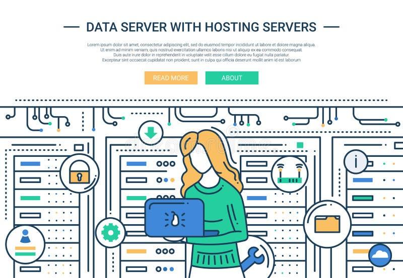 Gegevens Server en het Ontvangen - de websitekopbal van het lijnontwerp royalty-vrije illustratie