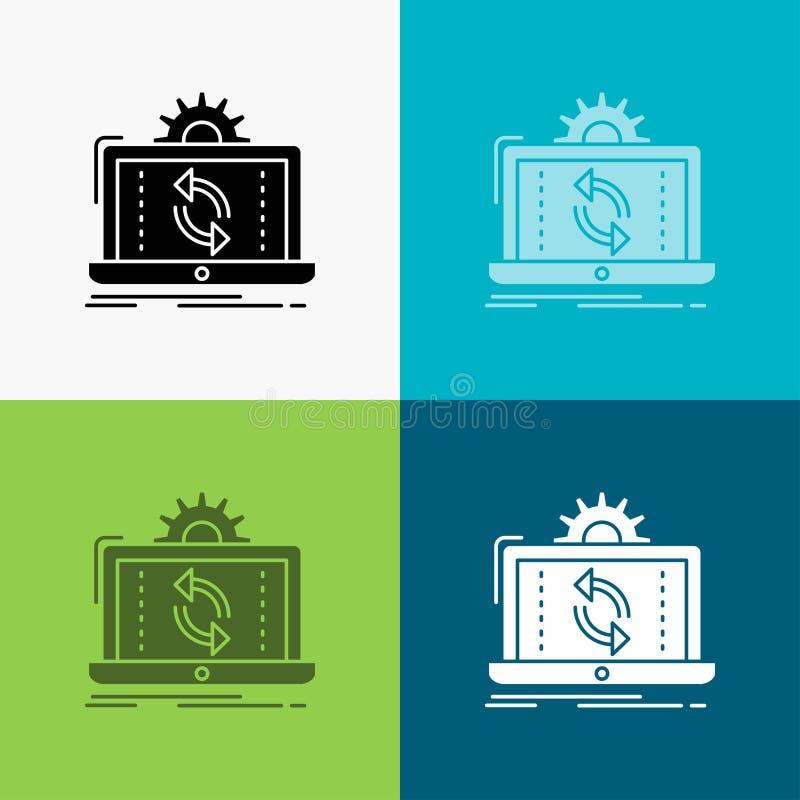 gegevens, verwerking, Analyse, rapportering, synchronisatiepictogram over Diverse Achtergrond glyph stijlontwerp, voor Web dat en stock illustratie