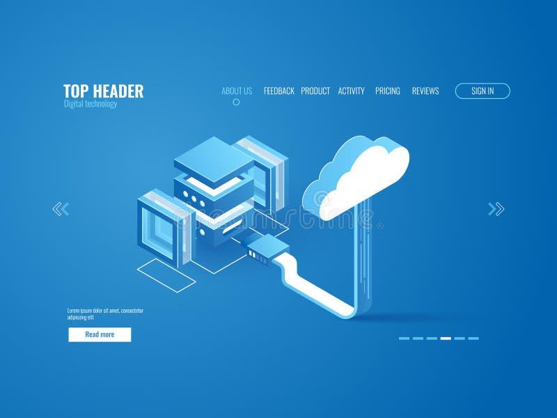 Gegevens - verwerking, de verbinding van de serverruimte met het pakhuis van de wolkenopslag, digitaal informatieexemplaar stock illustratie