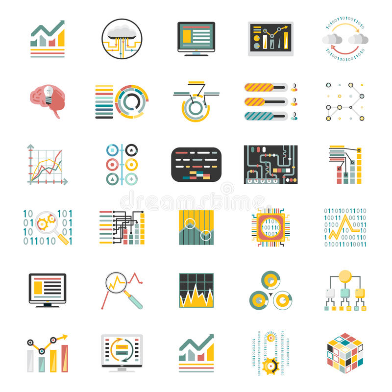 Gegevens - verwerkingsvolume over Witte Pictogrammen Als achtergrond Geplaatst Infographic Vlak Ontwerp Mobiele Apps-Malplaatjeve vector illustratie