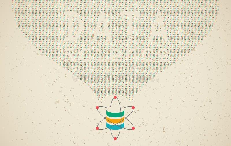 Gegevens wetenschap en communicatie concept stock illustratie