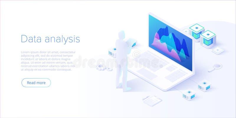 Gegevensanalyse in isometrisch vectorontwerp Technicus op datacenter of datacentrumruimteachtergrond Netwerkcentrale verwerkingse stock illustratie