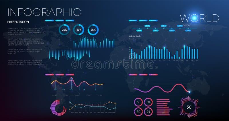 Gegevensanalyse, onderzoek, controle, planning, statistieken, beheers vectorconcept Globale statistieken van de gehele wereld royalty-vrije illustratie