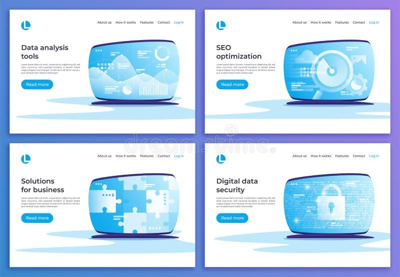 Gegevensanalyse, SEO-optimalisering, bedrijfsoplossingen, digitale seconde royalty-vrije illustratie