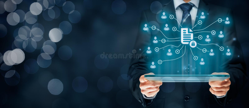 Gegevensbeheer en privacy stock afbeelding