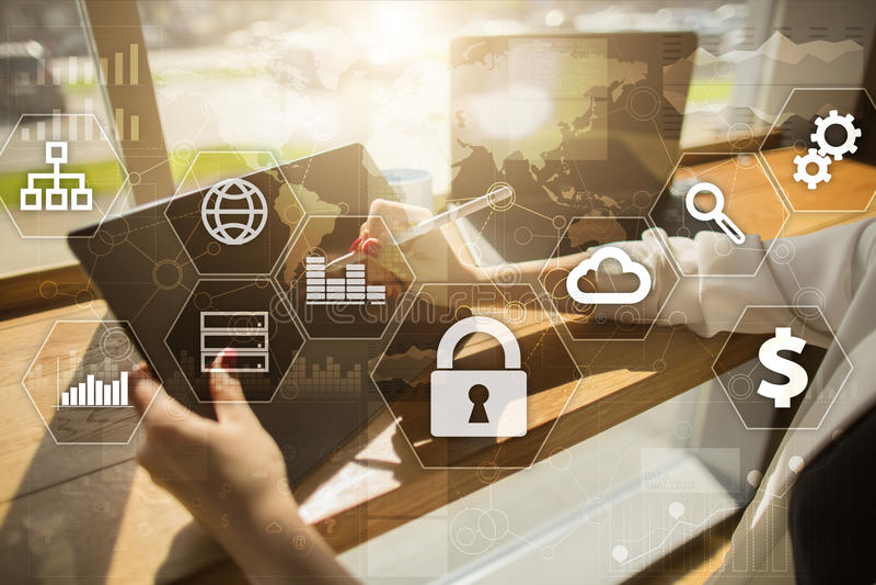 Gegevensbescherming, Cyber-veiligheid, informatieveiligheid Technologie bedrijfsconcept royalty-vrije stock afbeeldingen