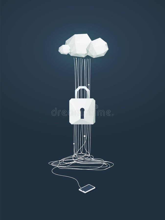 Gegevensbescherming en cyber veiligheids vectorconcept Symbool van slot en wolken gegevensverwerkingstechnologie als bescherming  stock illustratie