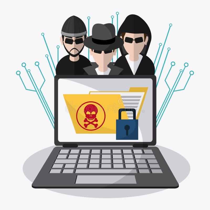 Gegevensbescherming en Cyber-veiligheidssysteem royalty-vrije illustratie