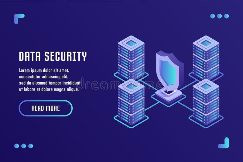 Gegevensbescherming en Internet-veiligheid, Gegevensopslag, Gegevensbeveiliging Vectorillustratie in vlakke isometrische 3D stijl royalty-vrije illustratie