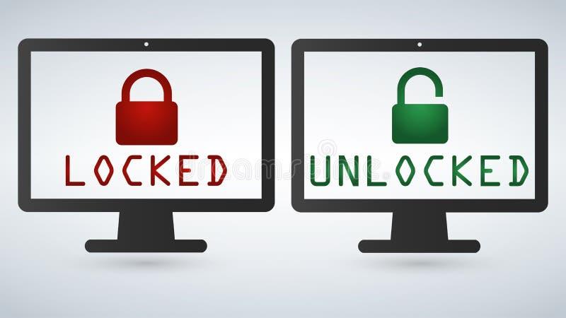 Gegevensbescherming, Internet-infographic veiligheidsconcept Veilig netwerk Het vectordie de monitorscherm van de slotcomputer op vector illustratie