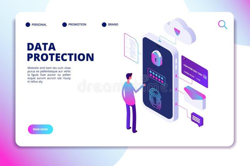 Gegevensbescherming isometrisch concept Persoonlijke identiteit, de beschermde veiligheid van documentfinanciën Vertrouwelijke be royalty-vrije illustratie