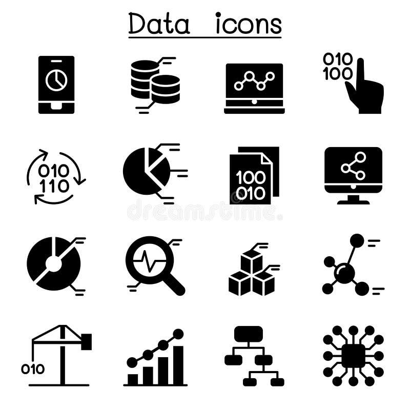 Gegevensbestand, Gegevensanalyse, gegevensbeheerpictogrammen vector illustratie