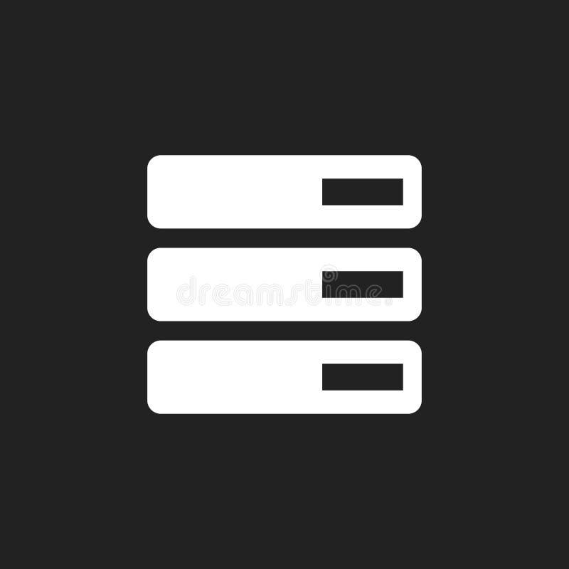Gegevensbestand, server vectorpictogram Opslag Vectorillustratie stock illustratie