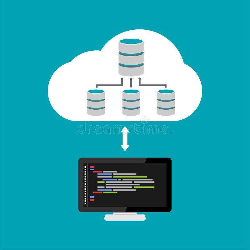 Gegevensbestandarchitectuur programmering Het beheer van de gegevensbestandrelatie smartphone surft op wolk in hemel royalty-vrije illustratie