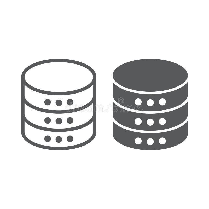 Gegevensbestandlijn en glyph pictogram, gegevens stock illustratie