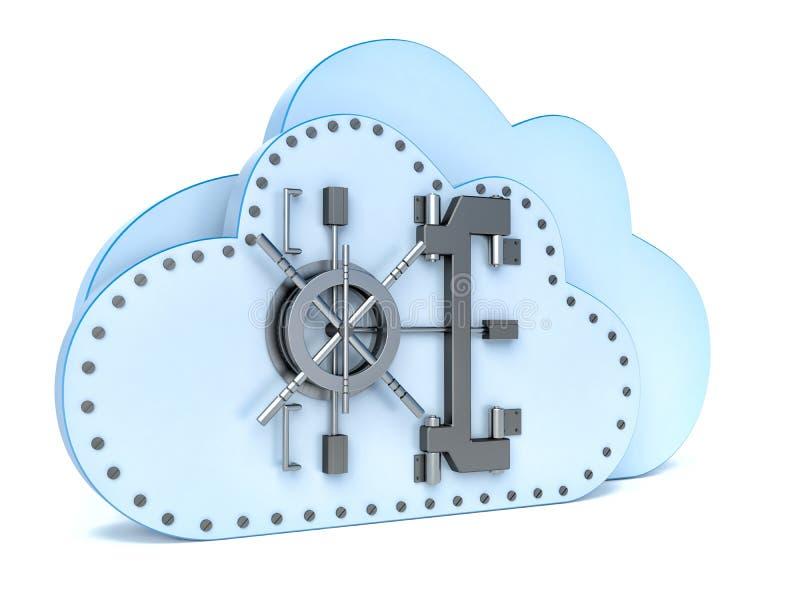 Gegevensbeveiligingconcept in wolk gegevensverwerking vector illustratie
