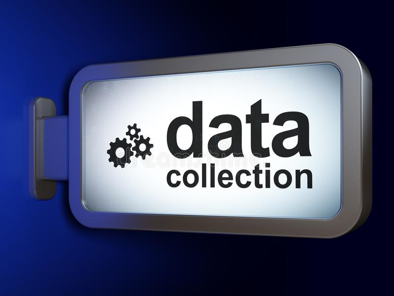Gegevensconcept: Gegevensverzameling en Toestellen op aanplakbordachtergrond stock illustratie
