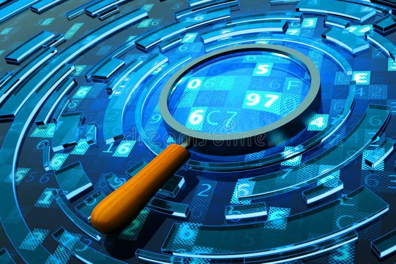 Gegevensonderzoek, computerbeveiliging en informatietechnologie concept stock illustratie