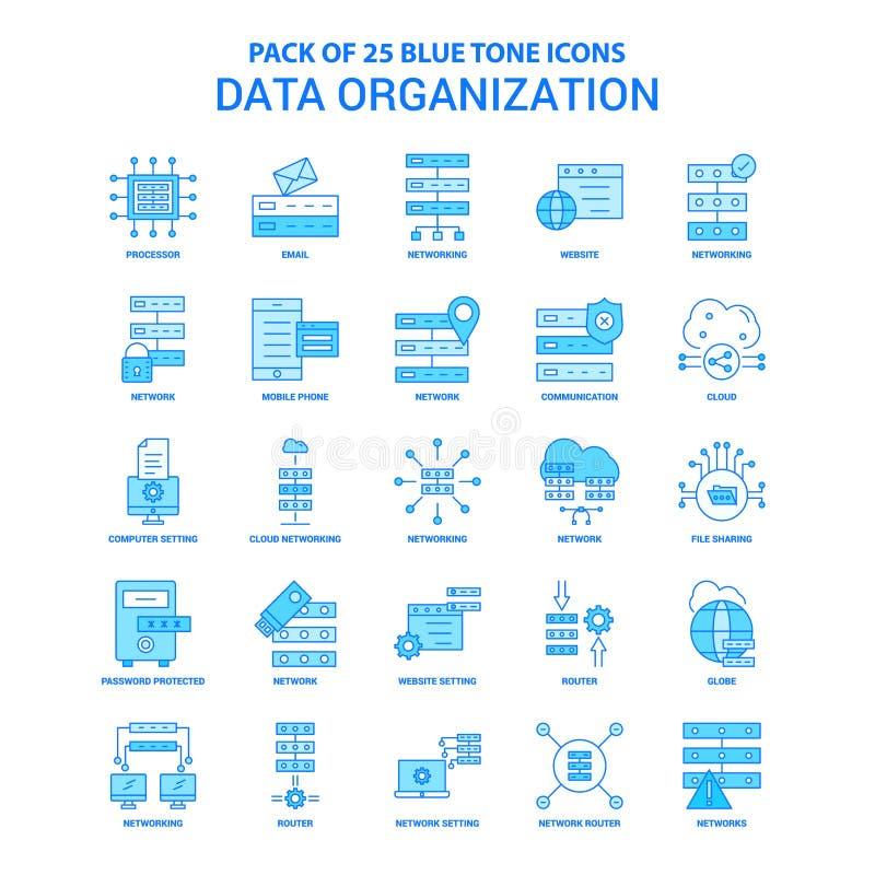 Gegevensorganisatie Blauwe Tone Icon Pack - 25 Pictogramreeksen stock illustratie