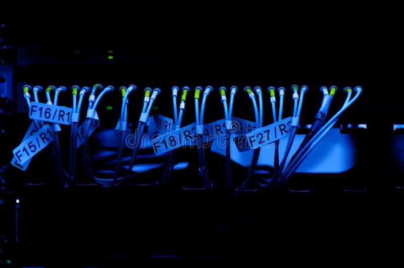 Gegevensoverdracht door optische vezel op de schakelaar van het kernnetwerk selectief stock fotografie
