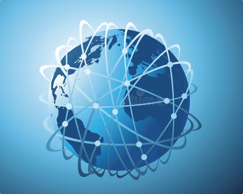 Gegevensoverdracht wereldwijd stock illustratie