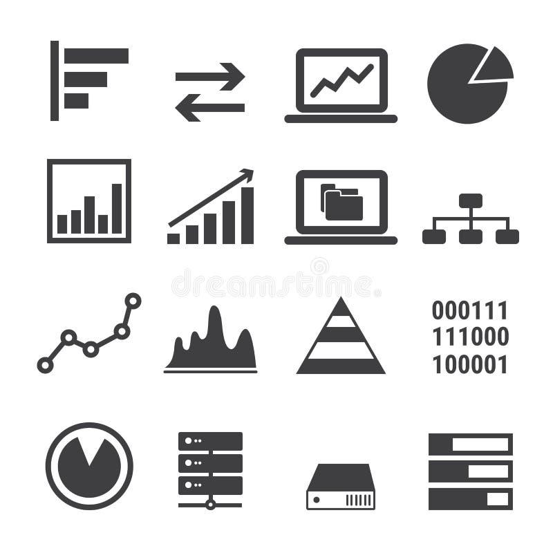 Gegevenspictogram op witte achtergrond wordt geplaatst die stock illustratie