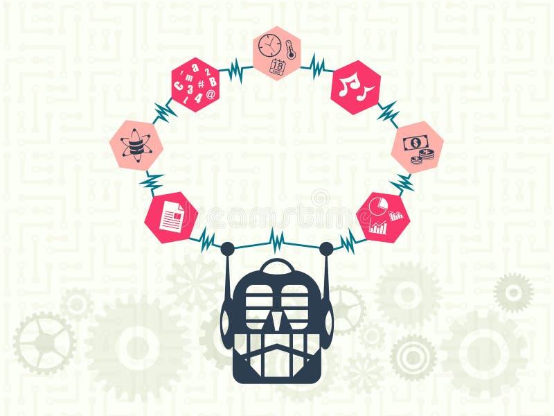 Gegevenstechnologie en machine het leren concept royalty-vrije illustratie