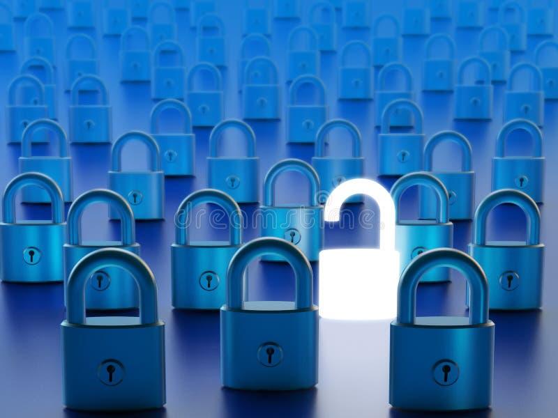 Gegevenstoegang door computerfirewall het mijden en netwerkbeveiligingconcept royalty-vrije stock foto