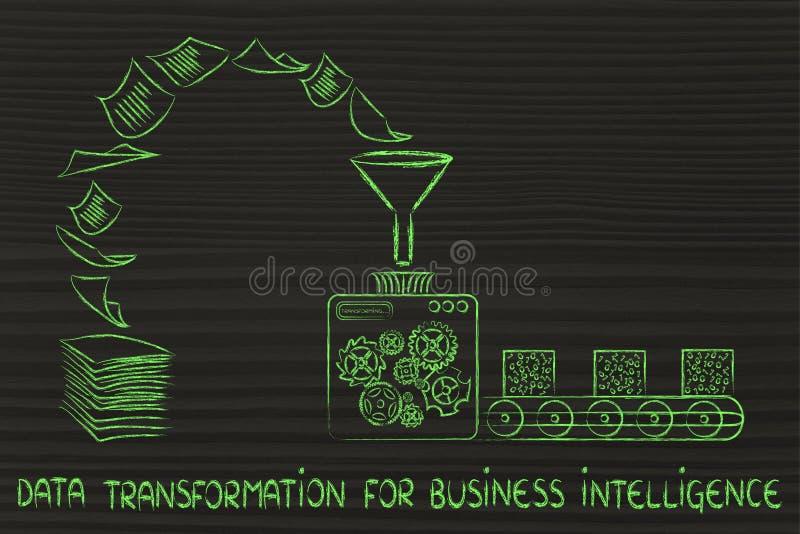 Gegevenstransformatie voor bedrijfsintelligentie: fabrieksmachines stock illustratie