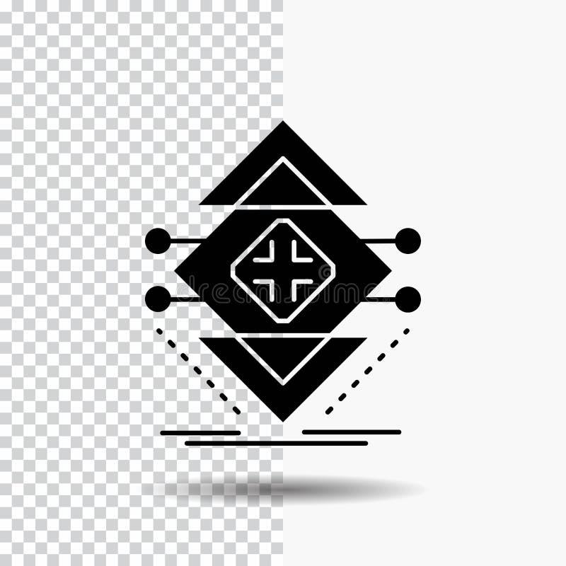 Gegevensverwerking, gegevens, infrastructuur, wetenschap, het Pictogram van structuurglyph op Transparante Achtergrond Zwart pict stock illustratie