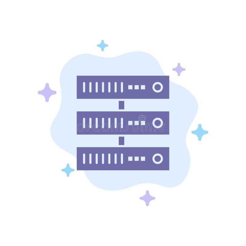 Gegevensverwerking, Gegevens, Opslag, Netwerk Blauw Pictogram op Abstracte Wolkenachtergrond vector illustratie