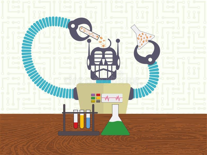 Gegevenswetenschap en machine het leren concept stock illustratie